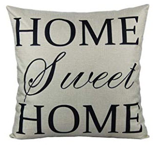 Silver & Black HOME SWEET HOME Fabric Throw Pillow
