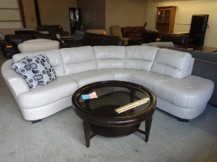 HTL Silver Italian Leather Curved Sectional with Chaise