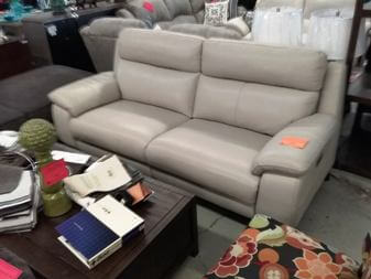 HTL Light Beige Leather Power Reclining Sofa with Adjustable Headrests
