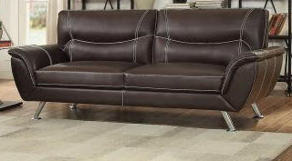 Homelegance Jambul Dark Brown Faux Leather Sofa with White Contrast Stitching