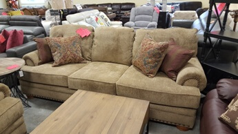 Lane Golden Beige Chenille Sofa With Rolled Arms U0026 Nailhead Trim