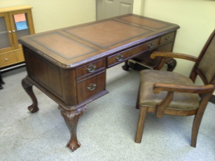 Georgetown Cherry Desk with Leather Paneling
