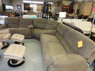 ManWah Light Brown Microsuede Sectional with 4 Power Recliners