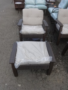 Outdoor PVC Wicker Chair & Ottoman with Ivory Cushions
