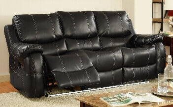 Amazing New Classic Lynx Black Bonded Leather Reclining Sofa