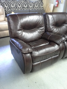 ManWah Dante Walnut Leather Gliding Recliner