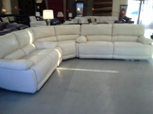 ManWah Ivory Leather Sectional with 4 Power Recliners
