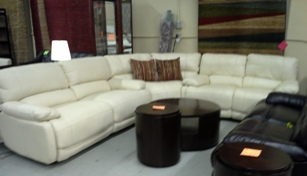 ManWah White Leather Sectional with 4 Power Recliners