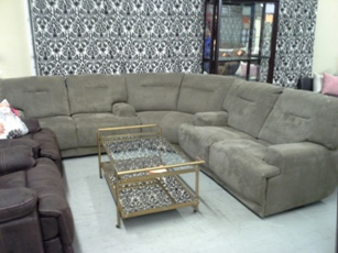 Chateau Dax Light Brown Plush Tweed Sectional with 4 Power Recliners