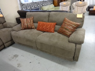 ManWah Light Brown Microsuede Power Reclining Sofa with Waterfall Back Cushions