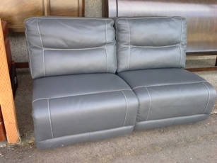 Natuzzi Dark Blue Italian Leather Armless Loveseat