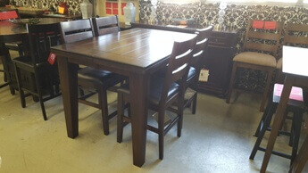 Ashley Burnished Espresso Larchmont Counter-Height Dining Set with 4 Barstools & 1 Leaf
