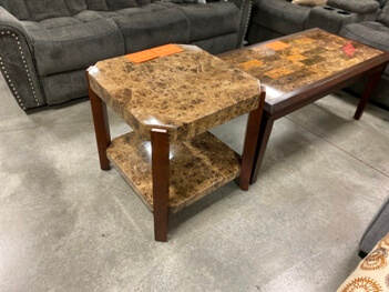 Homelegance Faux Marble & Cherry Finish End Table with Angled Corners