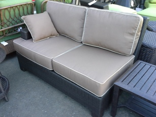 Outdoor PVC Wicker One-Arm Loveseat with Tan Cushions