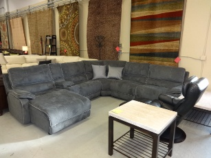 Manwah Plush Charcoal Microsuede Power Reclining Sectional with Chaise