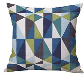 Teal, Purple, Blue, White & Lime Green Triangles Throw Pillows (set of 2)