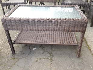 Outdoor PVC Wicker Rectangular Coffee Table with Frosted Glass top