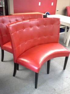 Bossa Red Curved Banquette/Dining Bench