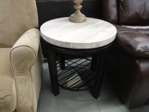 Bernhardt Tempo Travertine Marble Top Round End Table