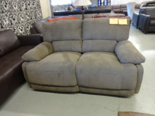 ManWah Nina Light Brown Fabric Power Reclining Loveseat with Waterfall Back Cushions