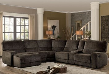 Homelegance Shreveport Chocolate Chenille 6-Piece Reclining Sectional with Left-Hand Chaise