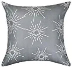 Charcoal Throw Pillows with White Sunburst Accents  (set of 2)