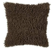 Rizzy Chocolate Textured Shag Throw Pillows (set of 2)