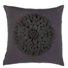 Rizzy Charcoal Throw Pillows with Textured Floral Design (set of 2)