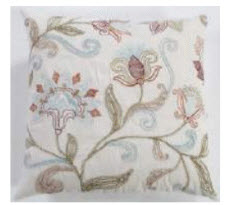 Rizzy White Throw Pillows with Stitched Floral Accents (set of 2)