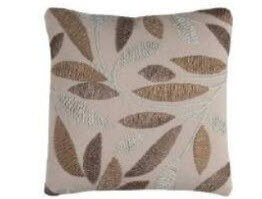 Rizzy Beige Throw Pillows with Stitched Leaf Accents (set of 2)