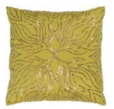 Rizzy Chartreuse Throw Pillows with Sparkly Pattern Accents (set of 2)