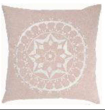 Rizzy Beige Throw Pillows with White Medallion Accents (set of 2)