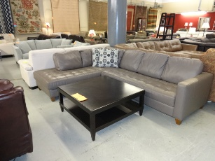Natuzzi Taupe Italian Leather Sectional with Chaise
