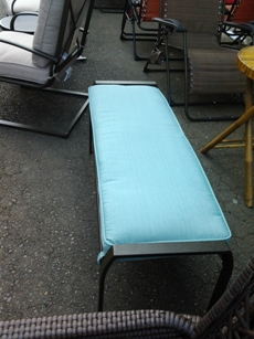 Outdoor Bench with Light Teal Cushion