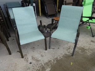 Outdoor Light Teal Mesh Arm Chair