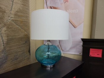 Coaster Teal Glass Table Lamp with Round White Shade