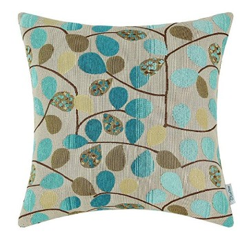 Blue Leaves Throw Pillows (set of 2)