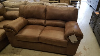 Benton Toffee Microsuede Loveseat with Contrast Stitching Accents