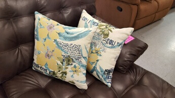 White & Teal Tropical Throw Pillows (set of 2)