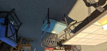 Outdoor Metal Chair with Grid Back & Dark Teal Cushion