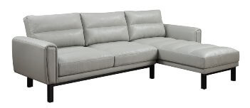 Emerald Light Silver Faux Leather Sofa with Chaise