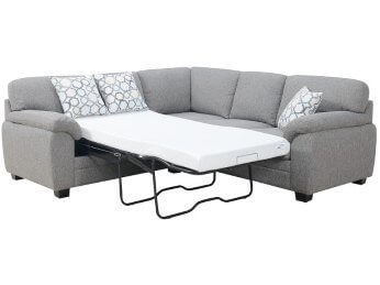 Emerald Plush Silver 2-Piece Sectional with Twin Sleeper