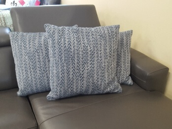 Dark Blue & White Variegated Down-Filled Throw Pillow