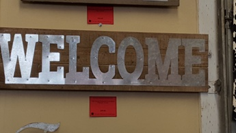 CBK Welcome Hardwood & Galvanized Wall Sign