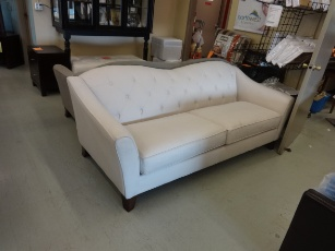 Bauhaus Kira Sand Fabric Sofa with Tufted Back Accents