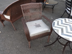 Outdoor PVC Wicker Chair with Light Beige Seat Cushion
