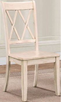 Homelegance Distressed White Side Chairs with X-Back Accents (set of 2)